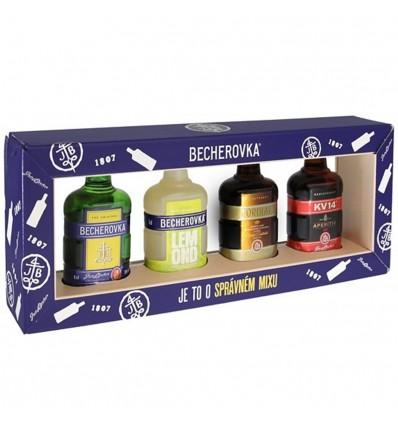 Becherovka 4 x 0,05l kolekce miniatur - Becherovka, Cordial, KV14, Lemond