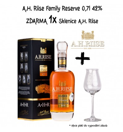 A.H. Riise Family Reserve 0,7l 42% + Sklenice A.H. Riise