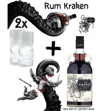 Kraken Black Spiced 1l 40% + 2 x Longdrink Sklenice Kraken
