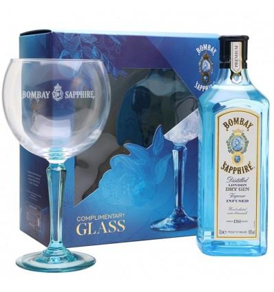 Bombay Sapphire gin 0,7 l 40% (dárkové balení 1 sklenice)